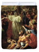 The Adoration of the Golden Calf Duvet Cover by Nicolas Poussin