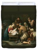 The Adoration Of The Shepherds Duvet Cover by Bartolome Esteban Murillo