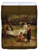 The Apple Gatherers Duvet Cover by Frederick Morgan