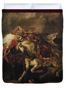 The Battle Of Giaour And Hassan Duvet Cover by Ferdinand Victor Eugene Delacroix