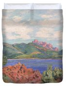 The Bay Of Agay Duvet Cover by Jean Baptiste Armand Guillaumin