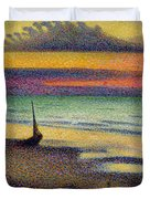 The Beach at Heist Duvet Cover by Georges Lemmen