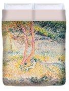 The Beach At St Clair Duvet Cover by Henri-Edmond Cross