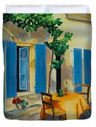 The Blue Shutters Duvet Cover by Elise Palmigiani