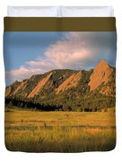 The Boulder Flatirons Duvet Cover by Jerry McElroy