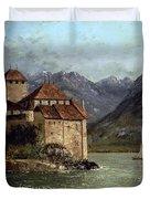 The Chateau de Chillon Duvet Cover by Gustave Courbet