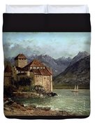 The Chateau De Chillon Duvet Cover by Gustave Courbet
