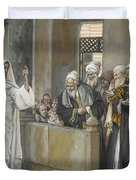 The Chief Priests Ask Jesus By What Right Does He Act In This Way Duvet Cover by James Jacques Joseph Tissot