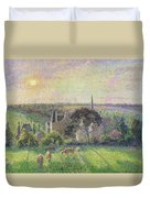 The Church And Farm Of Eragny Duvet Cover by Camille Pissarro
