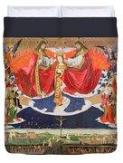 The Coronation Of The Virgin Duvet Cover by Enguerrand Quarton