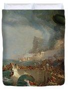 The Course of Empire - Destruction Duvet Cover by Thomas Cole