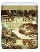 The Creation Of Adam Duvet Cover by Michelangelo