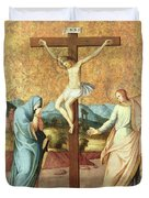The Crucifixion With The Virgin And St John The Evangelist Duvet Cover by French School