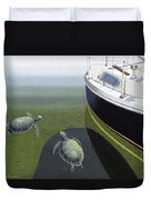 The Curiosity Of Sea Turtles Duvet Cover by Gary Giacomelli