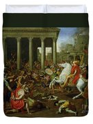 The Destruction Of The Temples In Jerusalem By Titus Duvet Cover by Nicolas Poussin