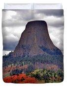 The Devils Tower WY Duvet Cover by Susanne Van Hulst