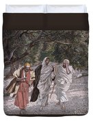 The Disciples On The Road To Emmaus Duvet Cover by Tissot