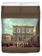 The Doge Visiting The Church And Scuola Di San Rocco Duvet Cover by Canaletto