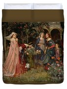 The Enchanted Garden Duvet Cover by John William Waterhouse