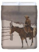 The Fall Of The Cowboy Duvet Cover by Frederic Remington