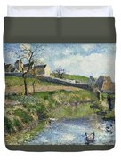 The Farm At Osny Duvet Cover by Camille Pissarro