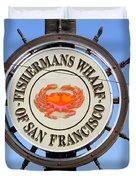 The Fishermans Wharf Sign . San Francisco California . 7d14228 Duvet Cover by Wingsdomain Art and Photography