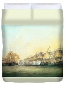 The Fourth Action Off Trincomalee Between The English And The French Duvet Cover by Dominic Serres
