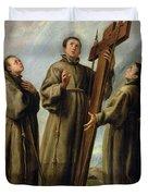 The Franciscan Martyrs In Japan Duvet Cover by Don Juan Carreno de Miranda