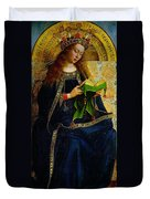 The Ghent Altarpiece The Virgin Mary Duvet Cover by Jan and Hubert Van Eyck