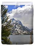 The Grand Tetons And The Lake Duvet Cover by Susanne Van Hulst