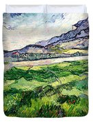 The Green Wheatfield behind the Asylum Duvet Cover by Vincent van Gogh