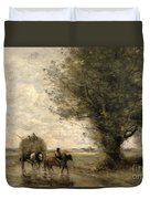 The Haycart Duvet Cover by Jean Baptiste Camille Corot