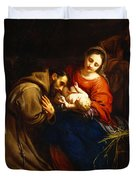 The Holy Family With Saint Francis Duvet Cover by Jacob van Oost