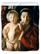 The Holy Family with St. John the Baptist Duvet Cover by Jacob Jordaens