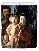 The Holy Family With St. John The Baptist Duvet Cover by Jacob Jordaens