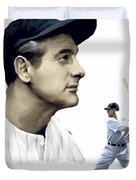 The Iron Horse  Lou Gehrig Duvet Cover by Iconic Images Art Gallery David Pucciarelli