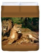 The Lions At Home Duvet Cover by Rosa Bonheur