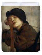 The Little Violinist Sleeping Duvet Cover by Antoine Auguste Ernest Hebert