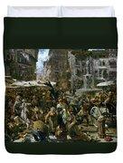 The Market Of Verona Duvet Cover by Adolph Friedrich Erdmann von Menzel