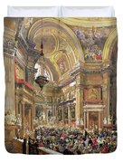 The Miracle Of The Liquefaction Of The Blood Of Saint Januarius Duvet Cover by Giacinto Gigante