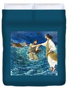 The Miracles Of Jesus Walking On Water  Duvet Cover by Clive Uptton