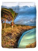 The Old Blue Boat Duvet Cover by Debra and Dave Vanderlaan
