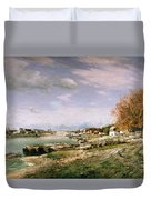 The Old Quay At Bercy Duvet Cover by Jean Baptiste Armand Guillaumin