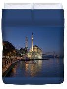 The Ortakoy Mosque And Bosphorus Bridge At Dusk Duvet Cover by Ayhan Altun