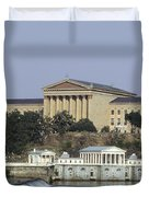 The Philly Art Museum And Waterworks Duvet Cover by Bill Cannon
