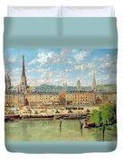 The Port At Rouen Duvet Cover by Torello Ancillotti
