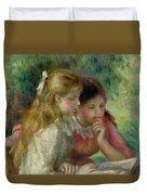 The Reading Duvet Cover by Pierre Auguste Renoir