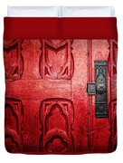 The Red Church Door Duvet Cover by Lisa Russo