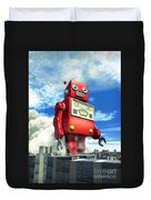 The Red Tin Robot And The City Duvet Cover by Luca Oleastri