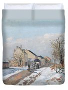 The Road From Gisors To Pontoise Duvet Cover by Camille Pissarro